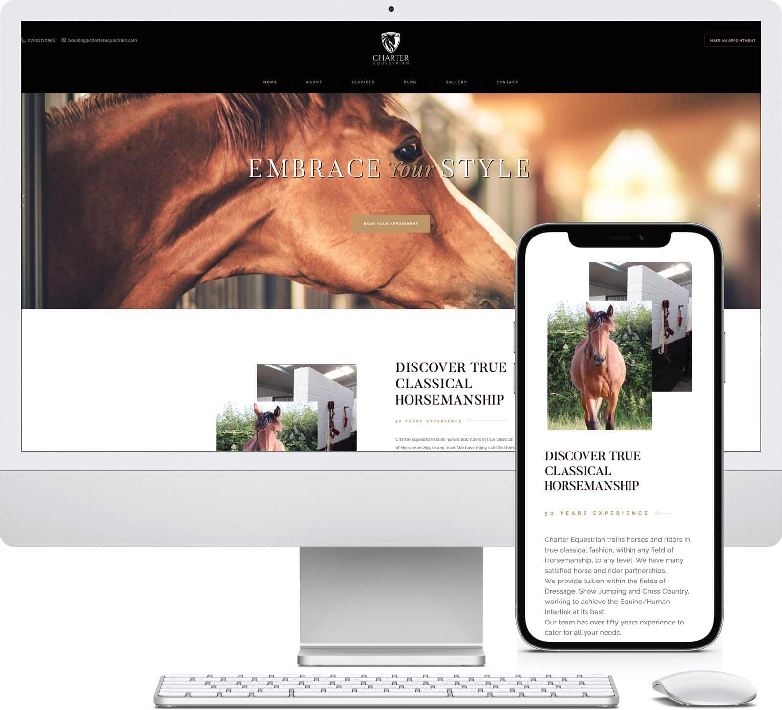 Charter Equestrian iMac and iPhone mockup image - Riotspace Creative