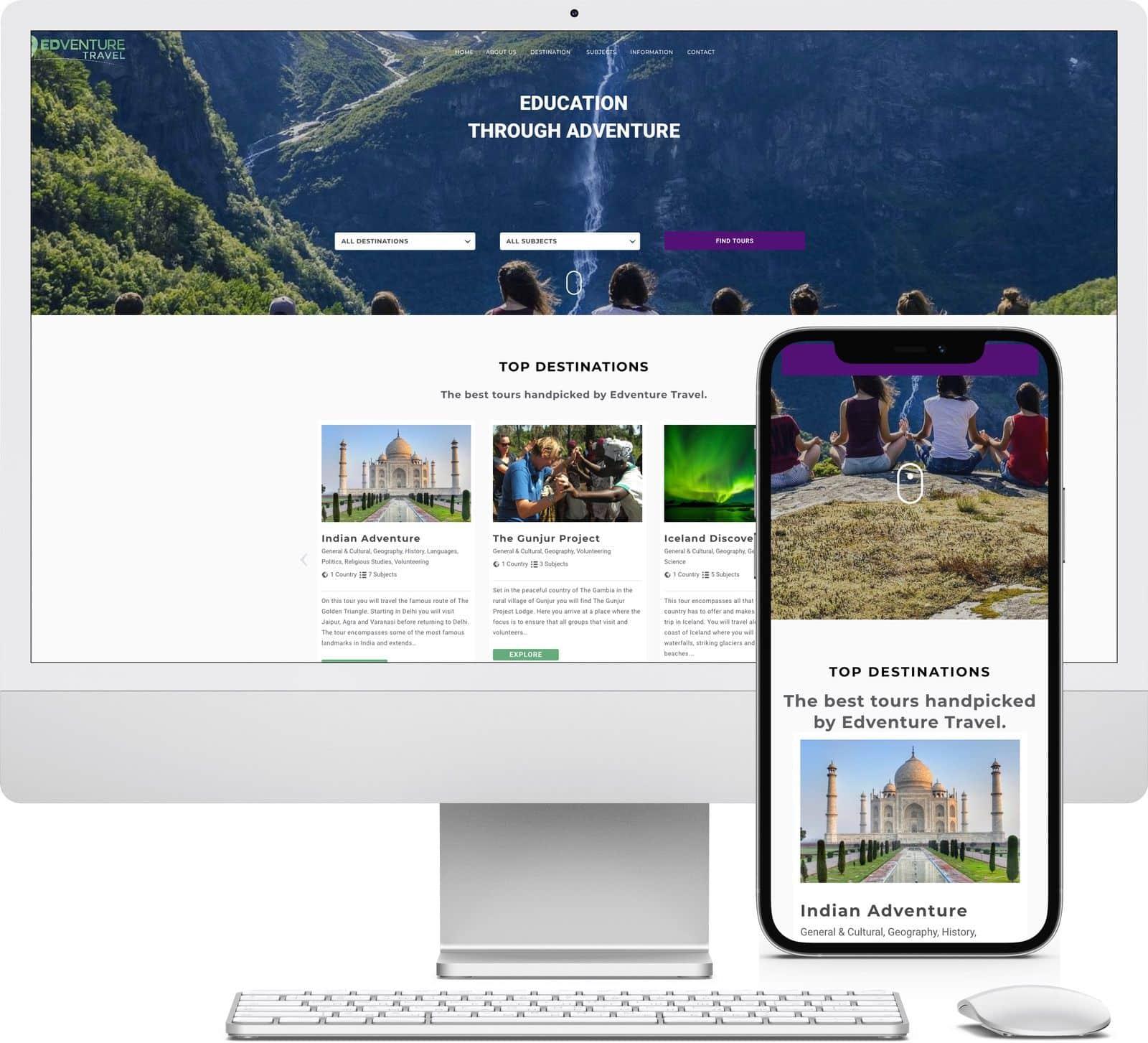 Edventure Travel iMac and iPhone mockup image - Riotspace Creative