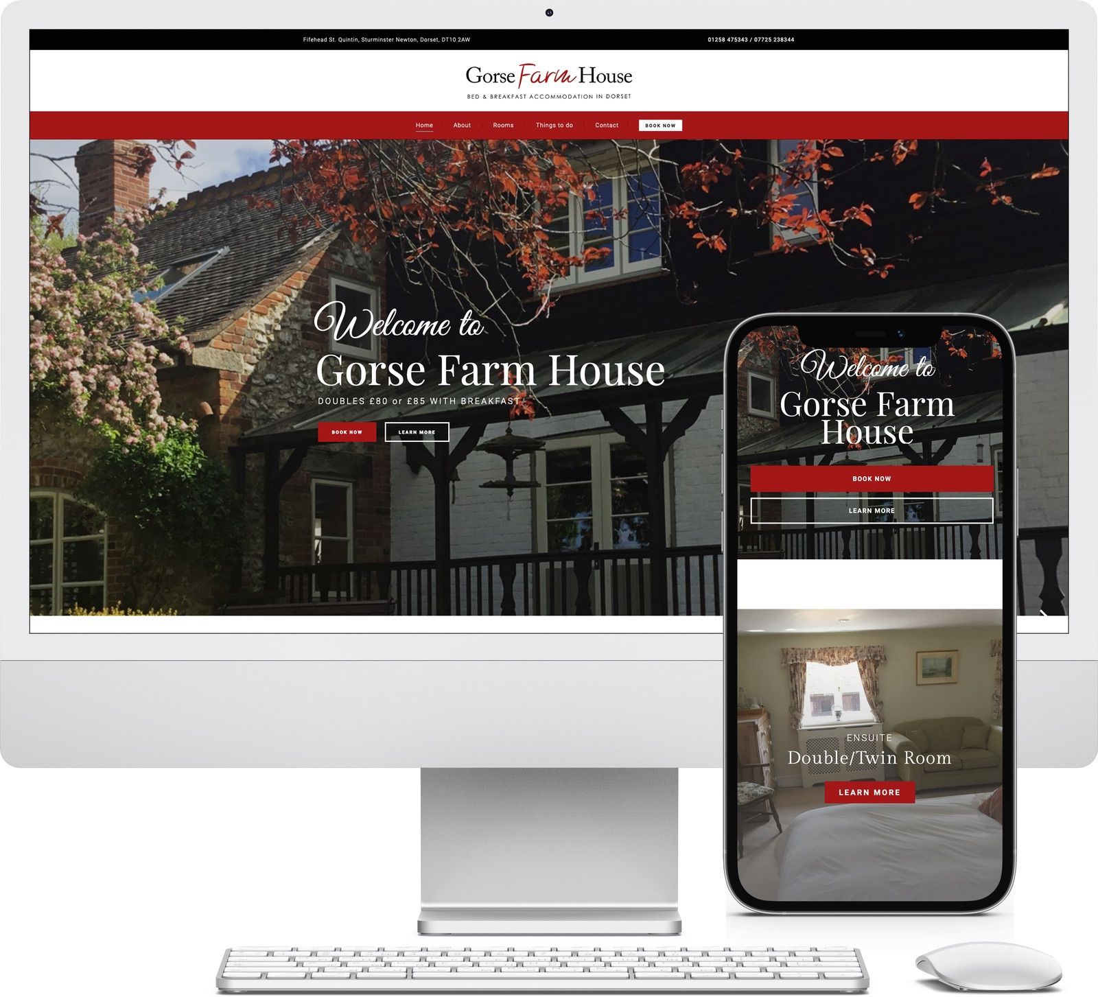 Gorse Farm House Bed and Breakfast iMac and iPhone mockup image - Riotspace Creative