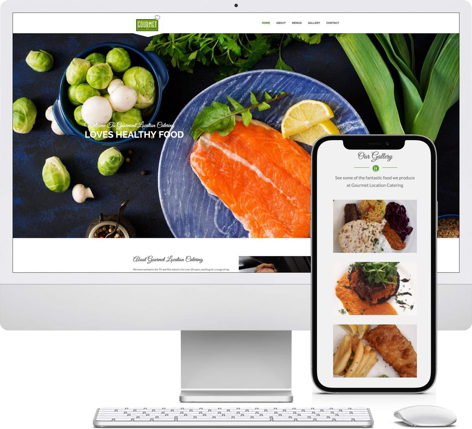 Gourmet Location Catering iMac and iPhone mockup image - Riotspace Creative
