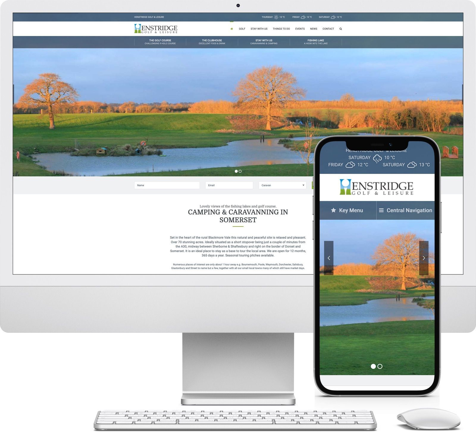 Henstridge Golf and Leisure Centre iMac and iPhone mockup image - Riotspace Creative