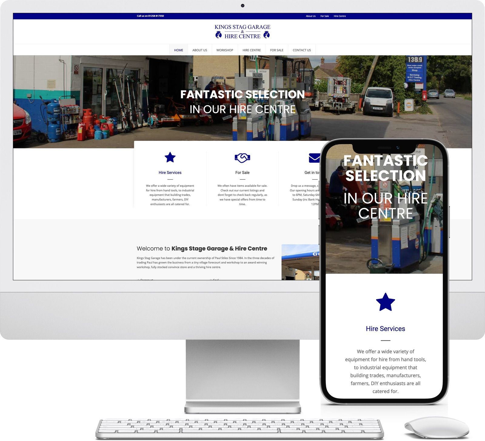 Kings Stage Garage and Hire Centre iMac and iPhone mockup image - Riotspace Creative