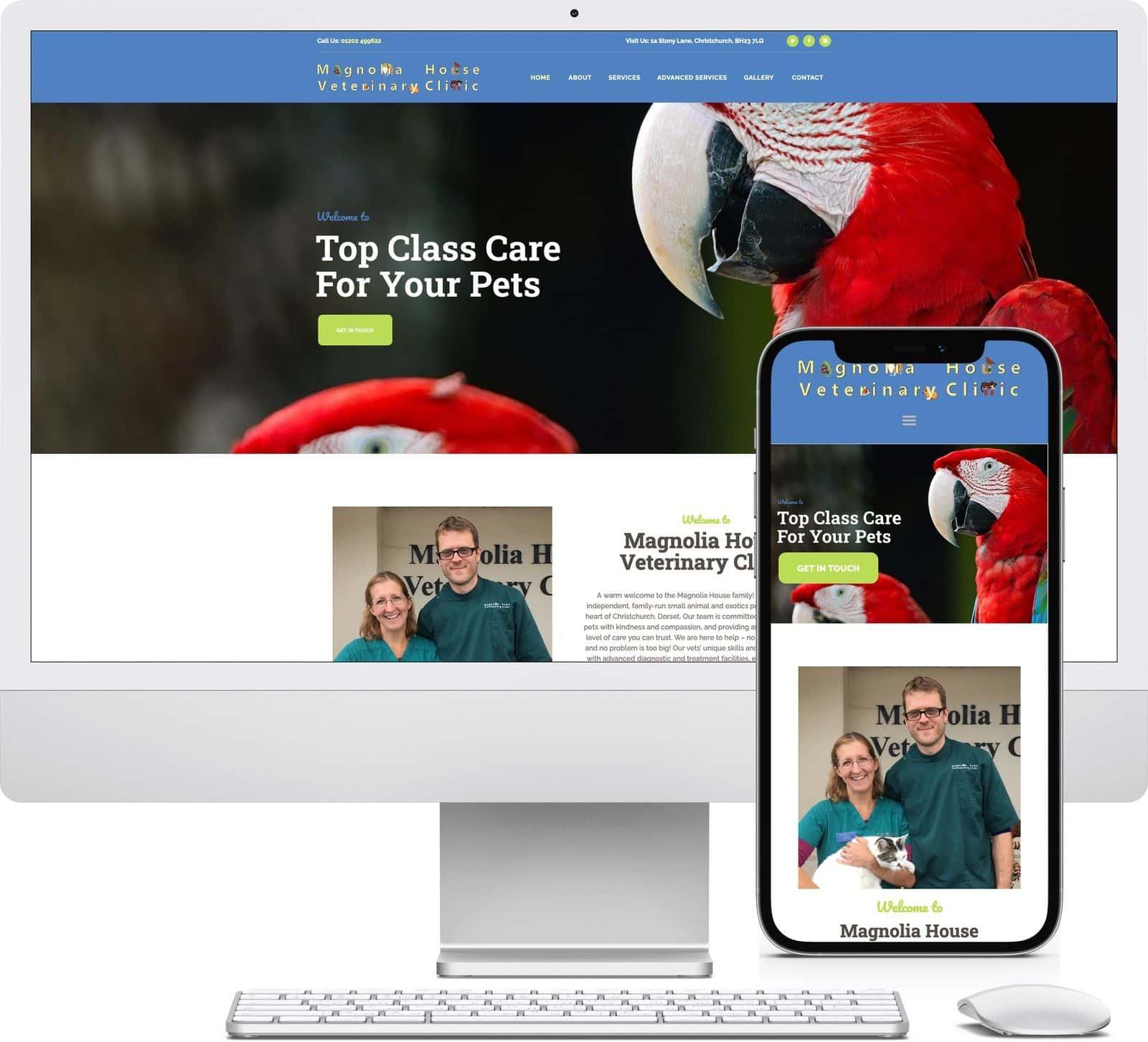 Magnolia House Veterinary Clinic iMac and iPhone mockup image - Riotspace Creative