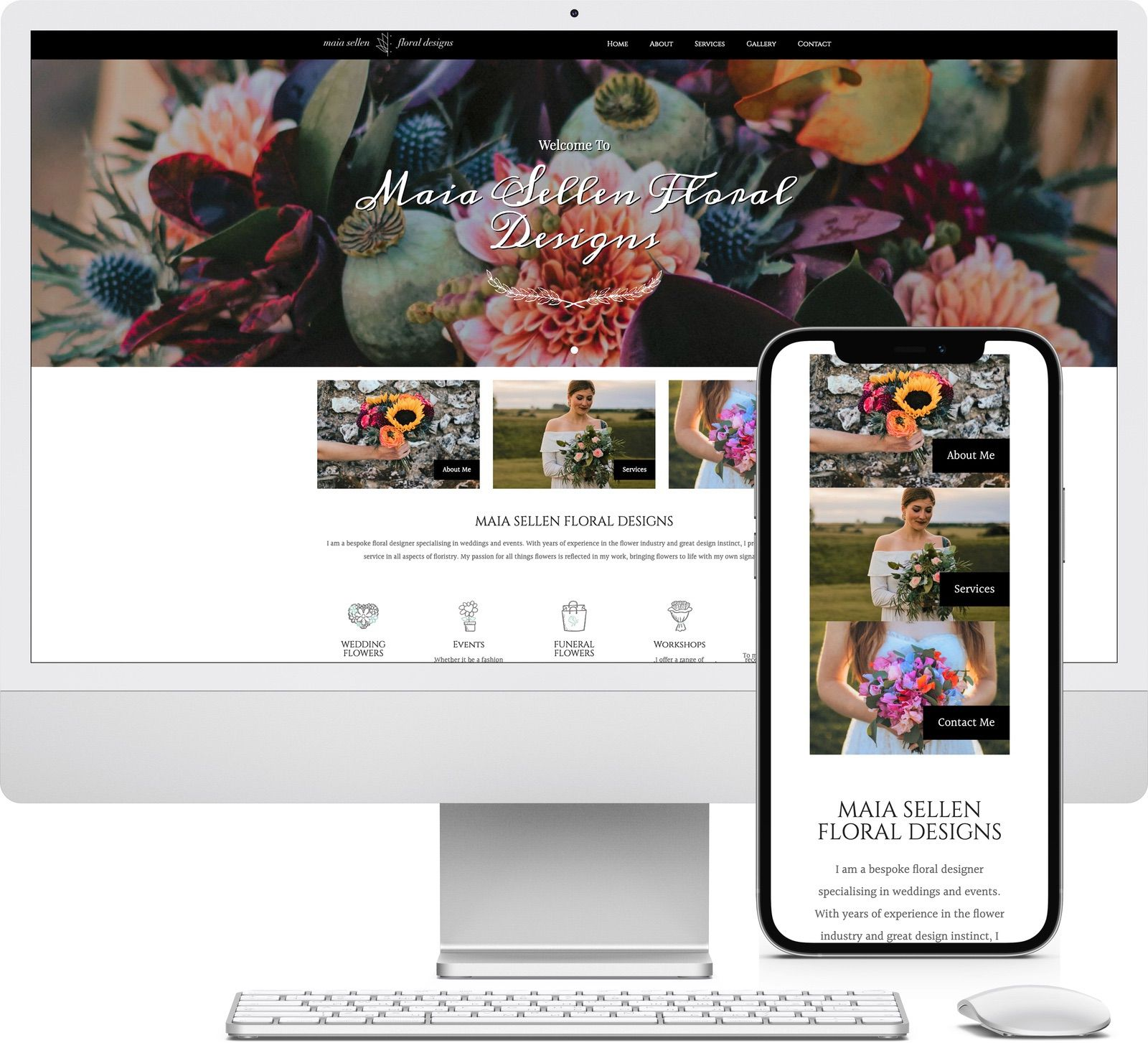 Maia Sellen Floral Designs iMac and iPhone mockup image - Riotspace Creative