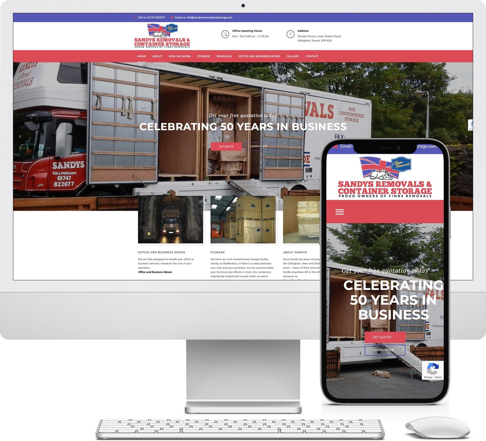 Sandys Removals and Container Storage iMac and iPhone mockup image - Riotspace Creative