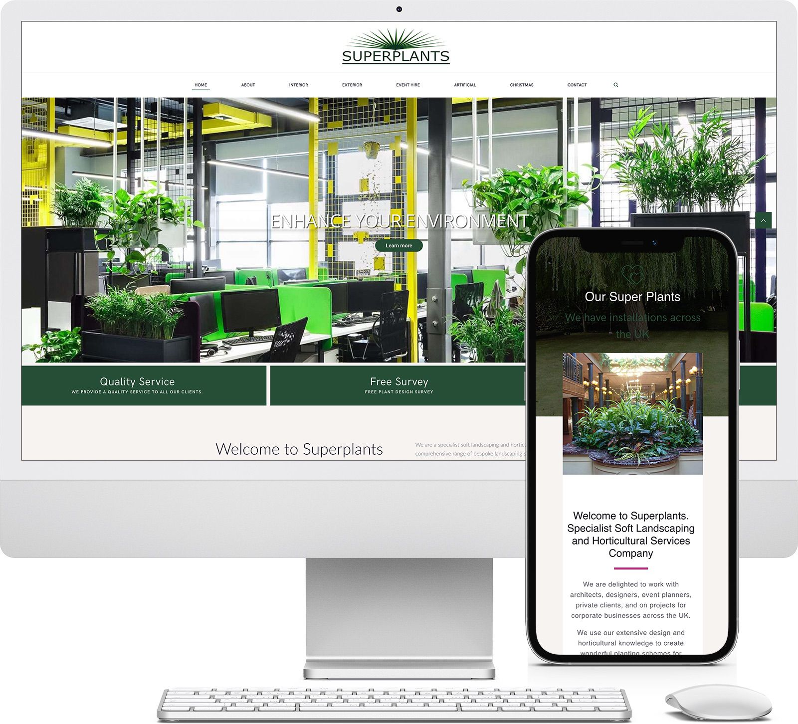 Superplants iMac and iPhone mockup image - Riotspace Creative