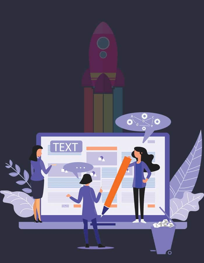 Content Marketing illustration showing content editing and creation