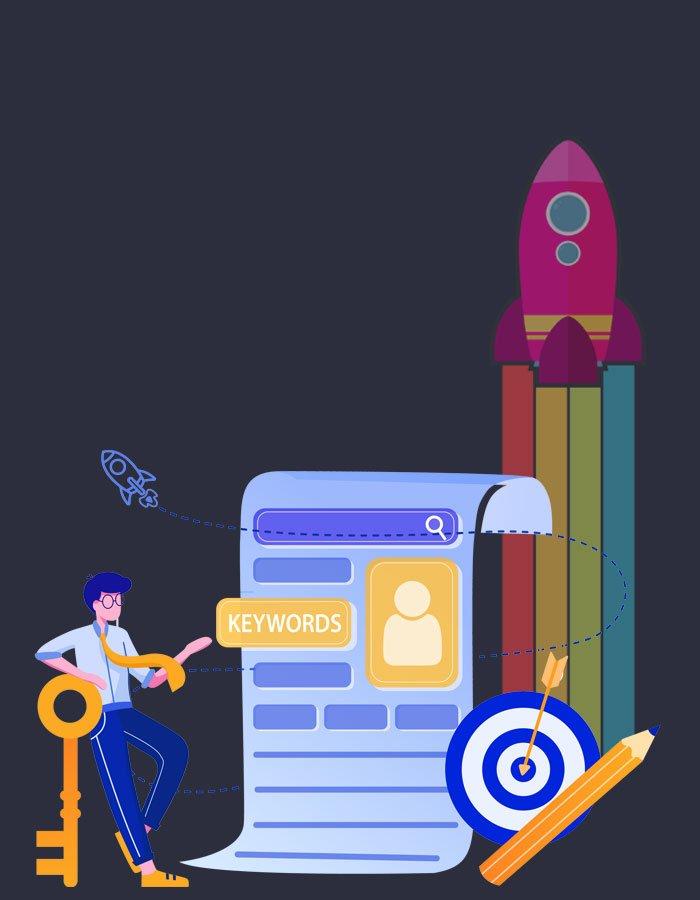 SEO Services illustration showing search engine optimisation techniques